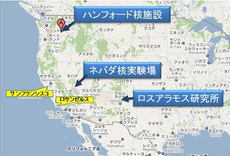 ハンフォード核施設他の地図