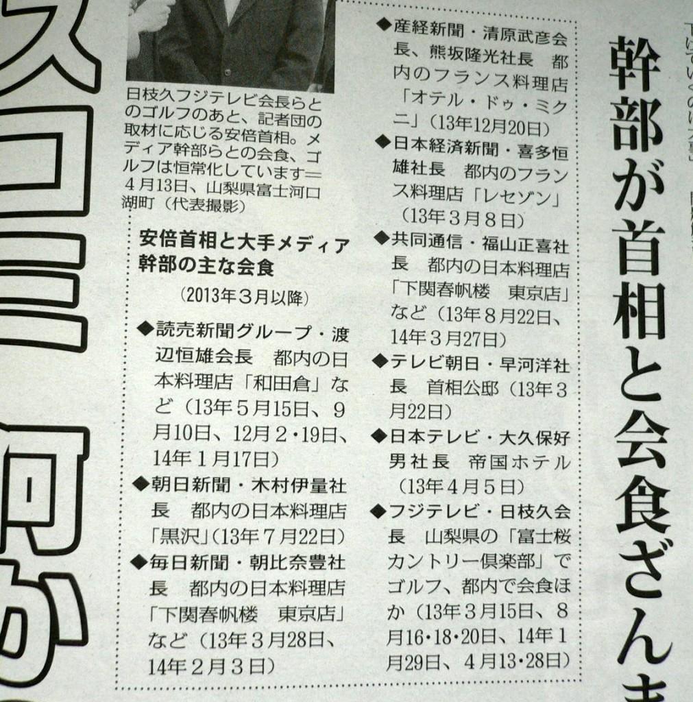 安倍総理会食三昧(赤旗)